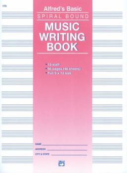 "12 Stave Music Writing Book (9"" x 12"") (AL-00-175)"