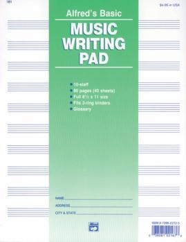 "10 Stave Music Writing Pad (8 1/2"" x 11"") (AL-00-181)"